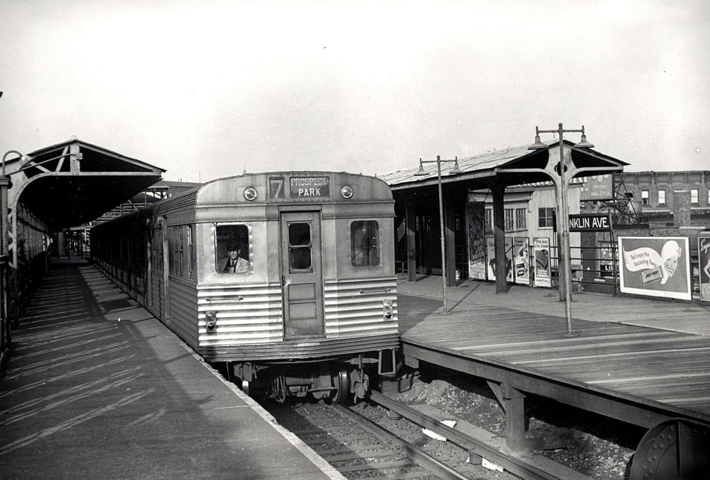 (186k, 1024x693)<br><b>Country:</b> United States<br><b>City:</b> New York<br><b>System:</b> New York City Transit<br><b>Line:</b> BMT Franklin<br><b>Location:</b> Franklin Avenue <br><b>Route:</b> Franklin Shuttle<br><b>Car:</b> BMT Zephyr 7029 <br><b>Collection of:</b> George Conrad Collection<br><b>Viewed (this week/total):</b> 1 / 2478