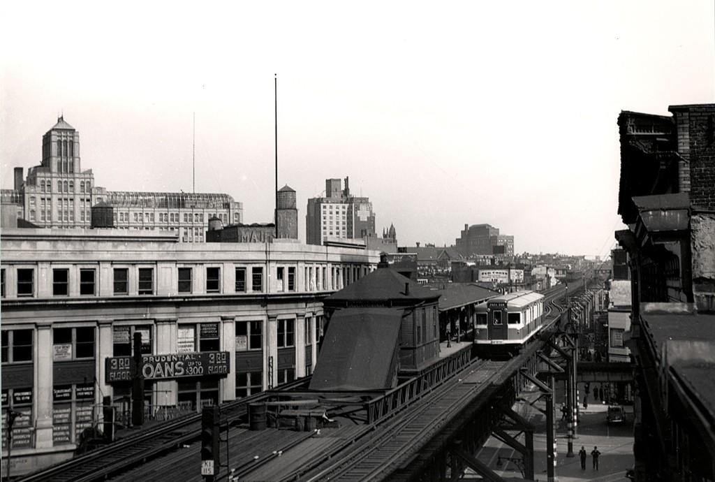 (152k, 1024x690)<br><b>Country:</b> United States<br><b>City:</b> New York<br><b>System:</b> New York City Transit<br><b>Line:</b> BMT Fulton<br><b>Location:</b> Flatbush Avenue <br><b>Car:</b> BMT Bluebird 8000 <br><b>Collection of:</b> George Conrad Collection<br><b>Viewed (this week/total):</b> 9 / 2760