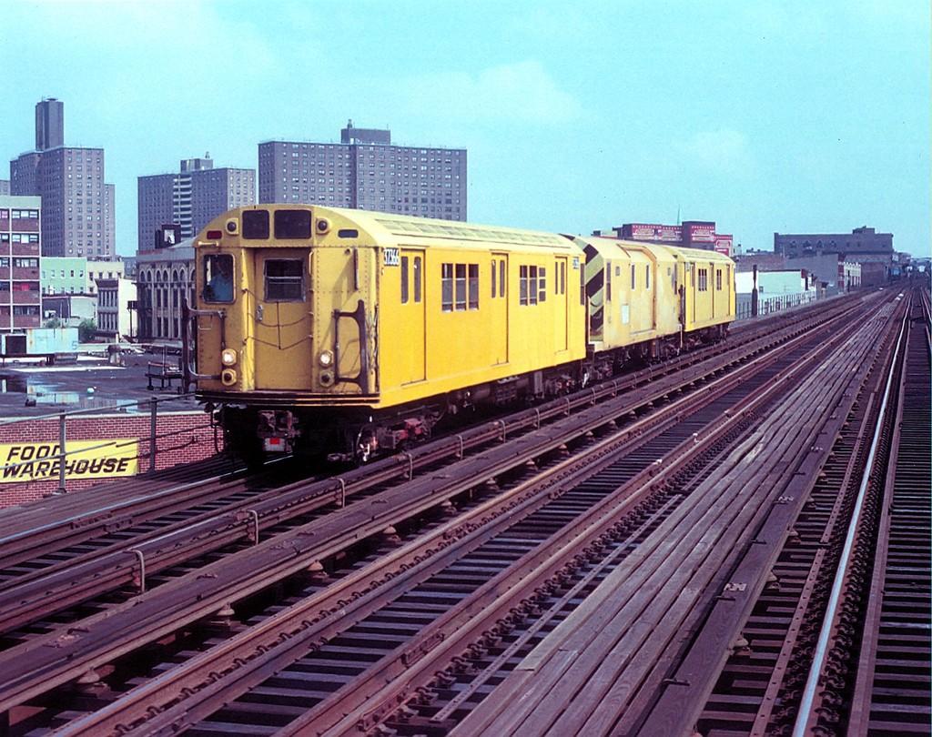 (269k, 1024x810)<br><b>Country:</b> United States<br><b>City:</b> New York<br><b>System:</b> New York City Transit<br><b>Line:</b> BMT Nassau Street/Jamaica Line<br><b>Location:</b> Lorimer Street <br><b>Route:</b> Work Service<br><b>Car:</b> R-22 (St. Louis, 1957-58) 37366 (ex-7366)<br><b>Collection of:</b> George Conrad Collection<br><b>Notes:</b> Signal dolly train<br><b>Viewed (this week/total):</b> 0 / 1983