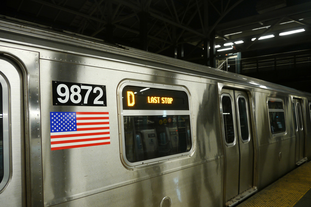 (211k, 1024x682)<br><b>Country:</b> United States<br><b>City:</b> New York<br><b>System:</b> New York City Transit<br><b>Location:</b> Coney Island/Stillwell Avenue<br><b>Route:</b> D (F-reroute)<br><b>Car:</b> R-160B (Option 2) (Kawasaki, 2009)  9872 <br><b>Photo by:</b> David Tropiansky<br><b>Date:</b> 7/8/2010<br><b>Viewed (this week/total):</b> 1 / 2669