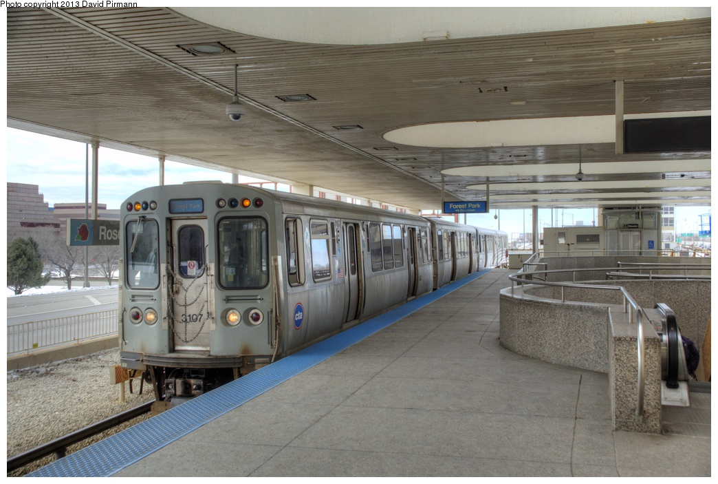 (267k, 1044x703)<br><b>Country:</b> United States<br><b>City:</b> Chicago, IL<br><b>System:</b> Chicago Transit Authority <br><b>Line:</b> CTA Blue (Forest Park-Dearborn-O'Hare)<br><b>Location:</b> Rosemont <br><b>Route:</b> Blue<br><b>Car:</b> CTA 2600 Series 3107 <br><b>Photo by:</b> David Pirmann<br><b>Date:</b> 3/2/2013<br><b>Viewed (this week/total):</b> 1 / 677