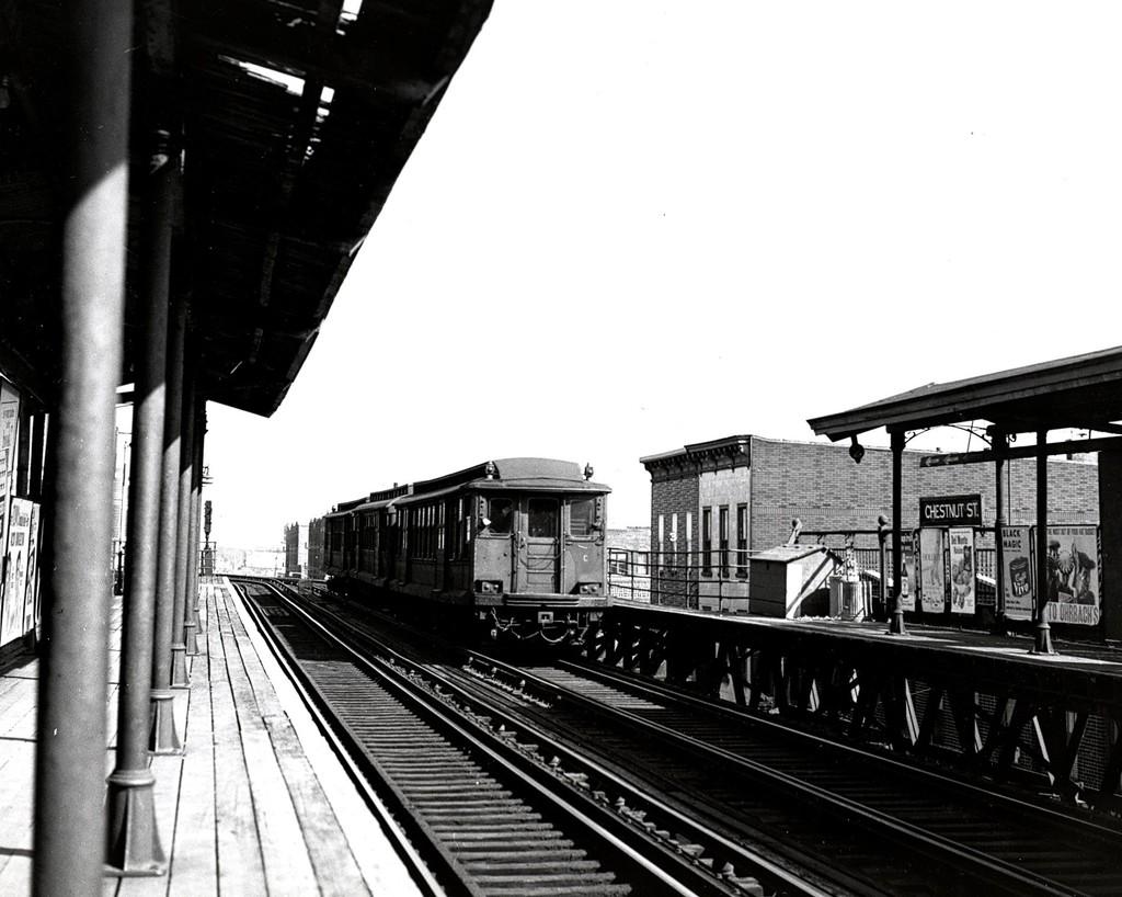 (179k, 1024x818)<br><b>Country:</b> United States<br><b>City:</b> New York<br><b>System:</b> New York City Transit<br><b>Line:</b> BMT Fulton<br><b>Location:</b> Chestnut Street <br><b>Car:</b> BMT C  <br><b>Collection of:</b> George Conrad Collection<br><b>Date:</b> 3/10/1956<br><b>Viewed (this week/total):</b> 2 / 1560