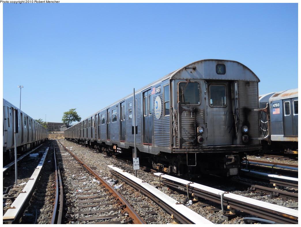 (287k, 1044x788)<br><b>Country:</b> United States<br><b>City:</b> New York<br><b>System:</b> New York City Transit<br><b>Location:</b> East New York Yard/Shops<br><b>Car:</b> R-32 (Budd, 1964)  3497 <br><b>Photo by:</b> Robert Mencher<br><b>Date:</b> 8/30/2010<br><b>Viewed (this week/total):</b> 1 / 841