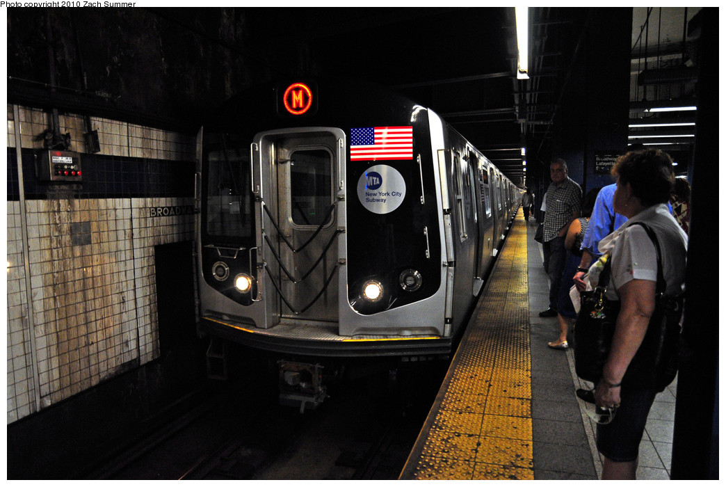 (235k, 1044x700)<br><b>Country:</b> United States<br><b>City:</b> New York<br><b>System:</b> New York City Transit<br><b>Line:</b> IND 6th Avenue Line<br><b>Location:</b> Broadway/Lafayette <br><b>Route:</b> M<br><b>Car:</b> R-160A-1 (Alstom, 2005-2008, 4 car sets)  8600 <br><b>Photo by:</b> Zach Summer<br><b>Date:</b> 6/28/2010<br><b>Notes:</b> First Day of Chrystie St / 6 Av M Service<br><b>Viewed (this week/total):</b> 1 / 1365