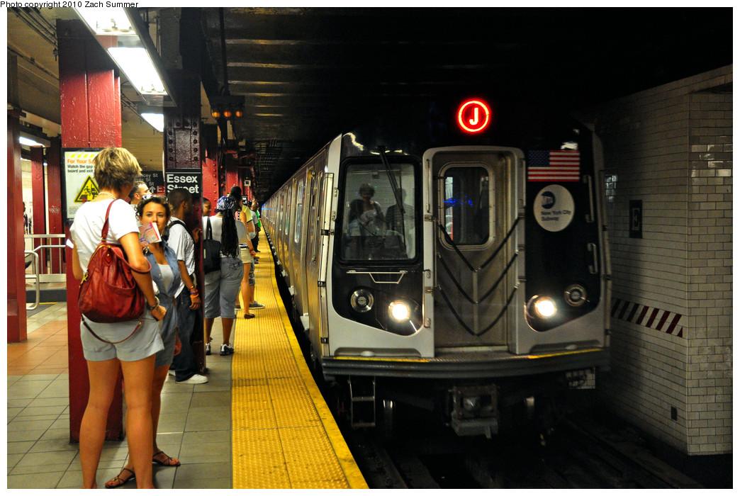 (267k, 1044x700)<br><b>Country:</b> United States<br><b>City:</b> New York<br><b>System:</b> New York City Transit<br><b>Line:</b> BMT Nassau Street/Jamaica Line<br><b>Location:</b> Essex Street <br><b>Route:</b> J<br><b>Car:</b> R-160A-1 (Alstom, 2005-2008, 4 car sets)  8329 <br><b>Photo by:</b> Zach Summer<br><b>Date:</b> 6/28/2010<br><b>Viewed (this week/total):</b> 1 / 1895