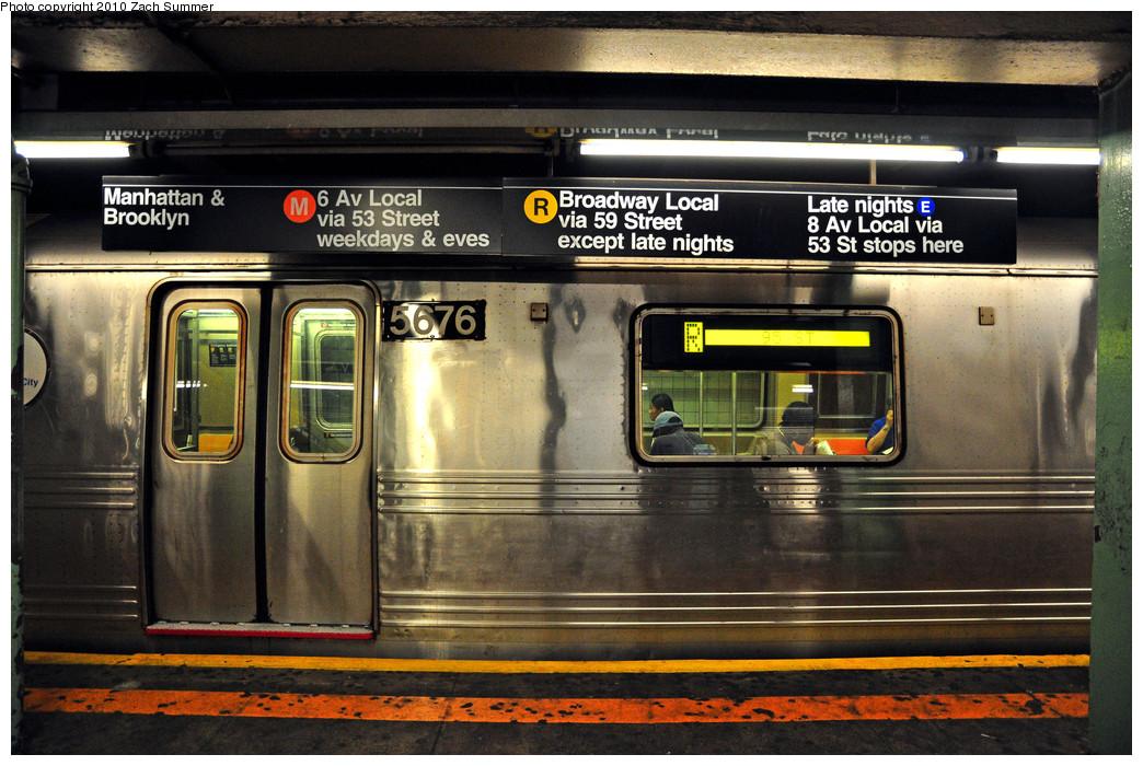 (291k, 1044x700)<br><b>Country:</b> United States<br><b>City:</b> New York<br><b>System:</b> New York City Transit<br><b>Line:</b> IND Queens Boulevard Line<br><b>Location:</b> 71st/Continental Aves./Forest Hills <br><b>Route:</b> R<br><b>Car:</b> R-46 (Pullman-Standard, 1974-75) 5676 <br><b>Photo by:</b> Zach Summer<br><b>Date:</b> 6/28/2010<br><b>Notes:</b> Updated signage displaying new 6 Av / Chrystie St M Service<br><b>Viewed (this week/total):</b> 1 / 2504