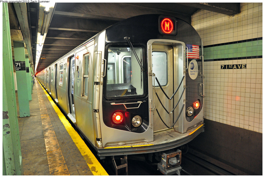 (298k, 1044x700)<br><b>Country:</b> United States<br><b>City:</b> New York<br><b>System:</b> New York City Transit<br><b>Line:</b> IND Queens Boulevard Line<br><b>Location:</b> 71st/Continental Aves./Forest Hills <br><b>Route:</b> M<br><b>Car:</b> R-160A-1 (Alstom, 2005-2008, 4 car sets)  8461 <br><b>Photo by:</b> Zach Summer<br><b>Date:</b> 6/28/2010<br><b>Notes:</b> First Day of  Chrystie St / 6 Av M Service<br><b>Viewed (this week/total):</b> 5 / 1371