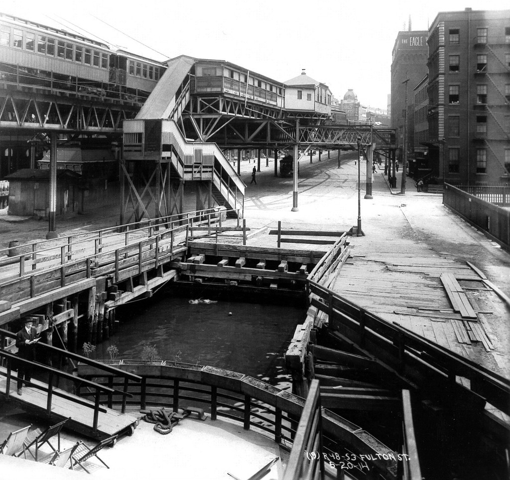 (285k, 1024x965)<br><b>Country:</b> United States<br><b>City:</b> New York<br><b>System:</b> New York City Transit<br><b>Line:</b> BMT Fulton<br><b>Location:</b> Fulton Ferry (Brooklyn) <br><b>Collection of:</b> George Conrad Collection<br><b>Date:</b> 6/20/1914<br><b>Viewed (this week/total):</b> 1 / 3230