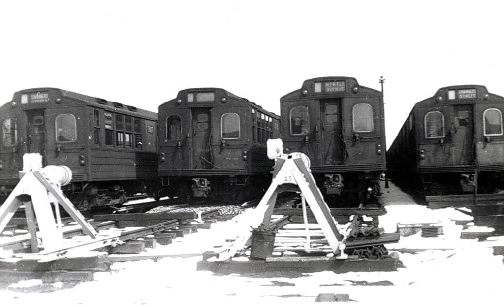 (118k, 1024x623)<br><b>Country:</b> United States<br><b>City:</b> New York<br><b>System:</b> New York City Transit<br><b>Location:</b> Fresh Pond Yard<br><b>Car:</b> BMT Multi  <br><b>Collection of:</b> George Conrad Collection<br><b>Date:</b> 3/14/1958<br><b>Viewed (this week/total):</b> 5 / 1548