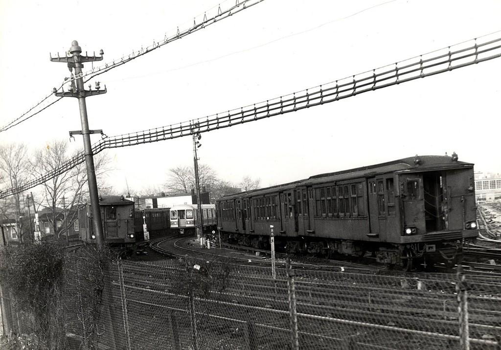 (191k, 1024x715)<br><b>Country:</b> United States<br><b>City:</b> New York<br><b>System:</b> New York City Transit<br><b>Location:</b> Fresh Pond Yard<br><b>Car:</b> BMT Q  <br><b>Collection of:</b> George Conrad Collection<br><b>Date:</b> 4/17/1969<br><b>Notes:</b> Note new R40M in yard.<br><b>Viewed (this week/total):</b> 4 / 1662
