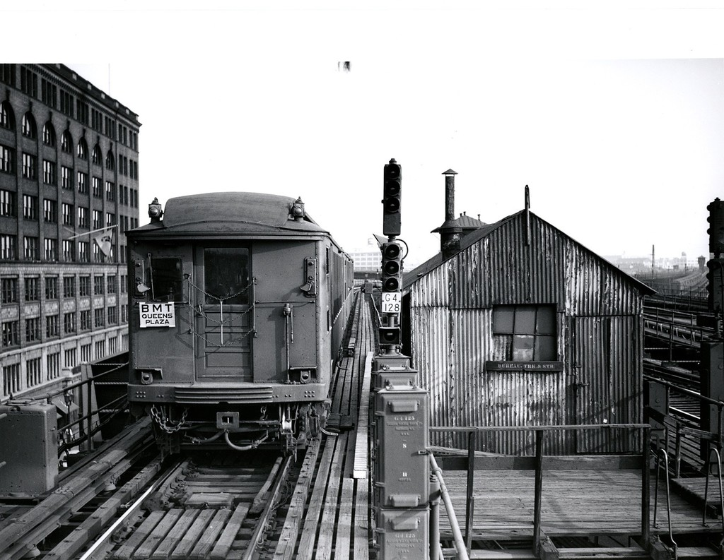 (208k, 1024x793)<br><b>Country:</b> United States<br><b>City:</b> New York<br><b>System:</b> New York City Transit<br><b>Location:</b> Queensborough Plaza <br><b>Car:</b> BMT Q  <br><b>Collection of:</b> George Conrad Collection<br><b>Notes:</b> Q Type leaving QBP for Astoria - north side of QBP.<br><b>Viewed (this week/total):</b> 0 / 2558