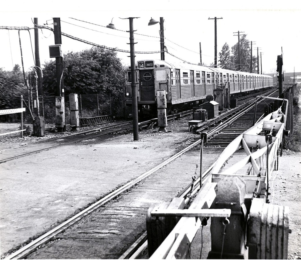 (296k, 1024x884)<br><b>Country:</b> United States<br><b>City:</b> New York<br><b>System:</b> New York City Transit<br><b>Line:</b> BMT Canarsie Line<br><b>Location:</b> East 105th Street (Grade Crossing) <br><b>Route:</b> BMT 14<br><b>Car:</b> R-11 (Budd, 1949)  <br><b>Collection of:</b> George Conrad Collection<br><b>Date:</b> 7/4/1966<br><b>Viewed (this week/total):</b> 0 / 1891
