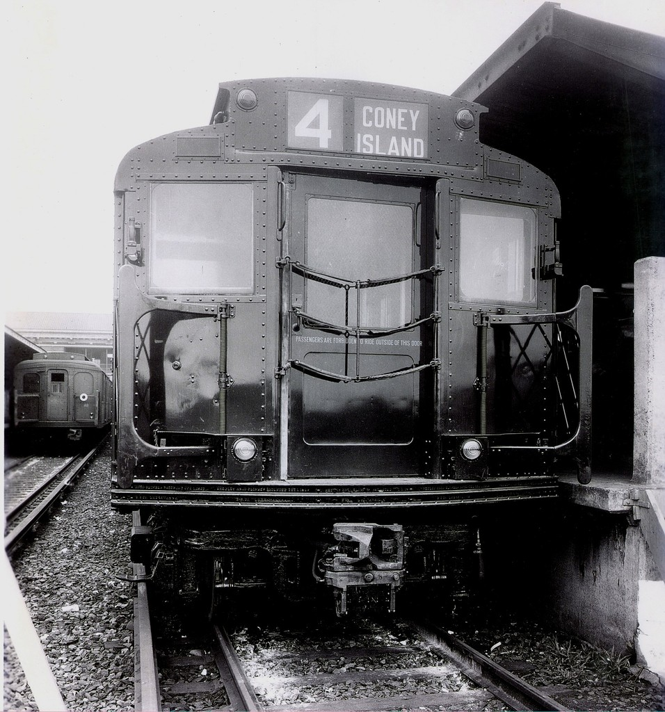 (283k, 956x1024)<br><b>Country:</b> United States<br><b>City:</b> New York<br><b>System:</b> New York City Transit<br><b>Location:</b> Coney Island/Stillwell Avenue<br><b>Route:</b> BMT 4<br><b>Car:</b> R-1 (American Car & Foundry, 1930-1931)  <br><b>Collection of:</b> George Conrad Collection<br><b>Date:</b> 1932<br><b>Notes:</b> Testing on BMT at Stillwell Avenue<br><b>Viewed (this week/total):</b> 5 / 2384