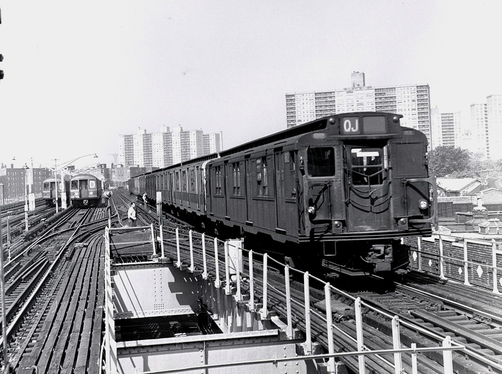 (235k, 1024x762)<br><b>Country:</b> United States<br><b>City:</b> New York<br><b>System:</b> New York City Transit<br><b>Line:</b> BMT Brighton Line<br><b>Location:</b> Brighton Beach <br><b>Route:</b> QJ<br><b>Car:</b> R-9 (Pressed Steel, 1940)  1802 <br><b>Collection of:</b> George Conrad Collection<br><b>Notes:</b> With new R40m/R42 cars- Circa 1969-1970<br><b>Viewed (this week/total):</b> 4 / 3127