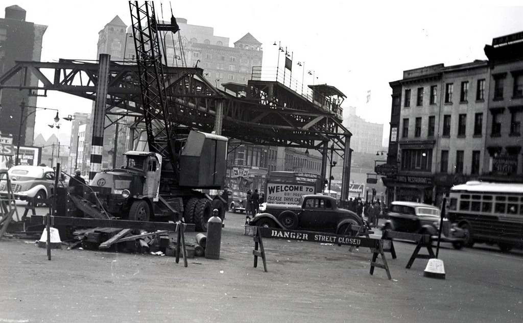 (169k, 1024x633)<br><b>Country:</b> United States<br><b>City:</b> New York<br><b>System:</b> New York City Transit<br><b>Line:</b> BMT Fulton<br><b>Location:</b> Lafayette Avenue <br><b>Collection of:</b> George Conrad Collection<br><b>Date:</b> 1941<br><b>Notes:</b> El demolition at Lafayette Ave.<br><b>Viewed (this week/total):</b> 0 / 2647