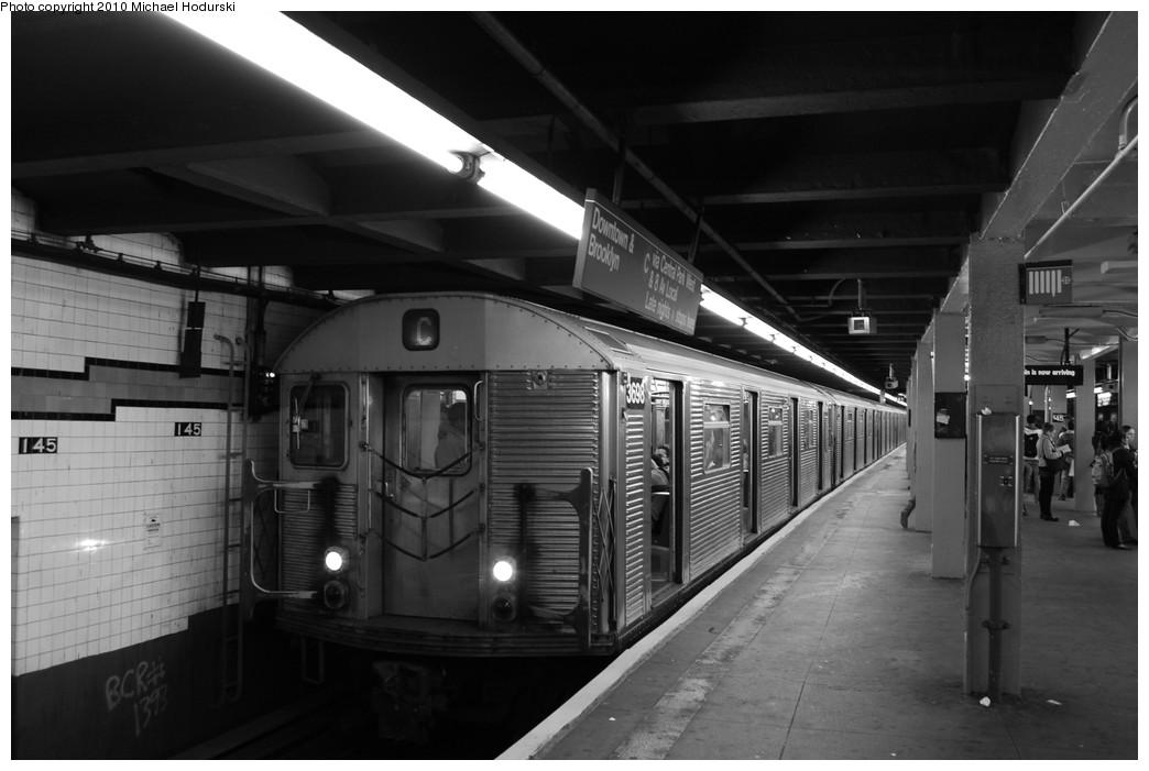 (198k, 1044x701)<br><b>Country:</b> United States<br><b>City:</b> New York<br><b>System:</b> New York City Transit<br><b>Line:</b> IND 8th Avenue Line<br><b>Location:</b> 145th Street <br><b>Route:</b> C<br><b>Car:</b> R-32 (Budd, 1964)  3698 <br><b>Photo by:</b> Michael Hodurski<br><b>Date:</b> 10/15/2010<br><b>Viewed (this week/total):</b> 0 / 946