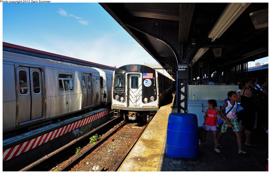 (263k, 1044x671)<br><b>Country:</b> United States<br><b>City:</b> New York<br><b>System:</b> New York City Transit<br><b>Line:</b> BMT Brighton Line<br><b>Location:</b> Brighton Beach <br><b>Route:</b> Q<br><b>Car:</b> R-160B (Option 1) (Kawasaki, 2008-2009)  9106 <br><b>Photo by:</b> Zach Summer<br><b>Date:</b> 7/4/2010<br><b>Notes:</b> Q trains terminating at Brighton Beach due to track fire at Coney Island<br><b>Viewed (this week/total):</b> 0 / 1232