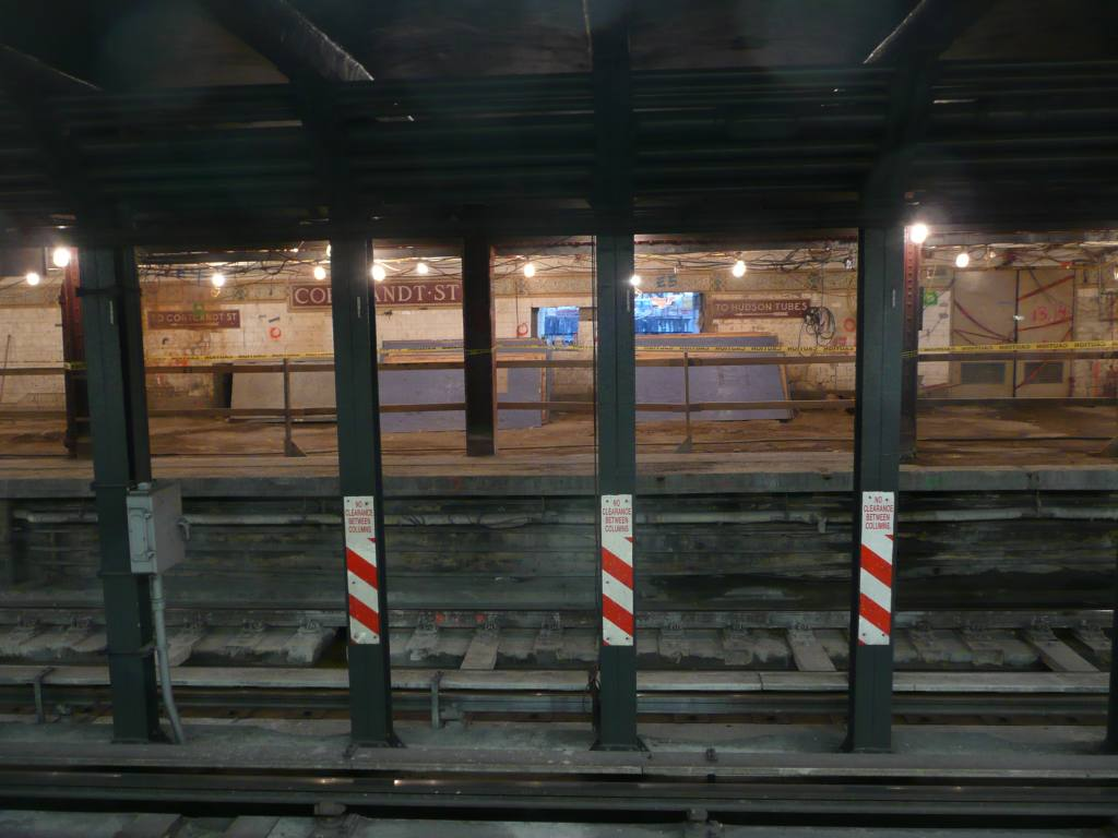 (105k, 1024x768)<br><b>Country:</b> United States<br><b>City:</b> New York<br><b>System:</b> New York City Transit<br><b>Line:</b> BMT Broadway Line<br><b>Location:</b> Cortlandt Street-World Trade Center <br><b>Photo by:</b> Robbie Rosenfeld<br><b>Date:</b> 10/5/2010<br><b>Notes:</b> Station renovation.<br><b>Viewed (this week/total):</b> 2 / 1095
