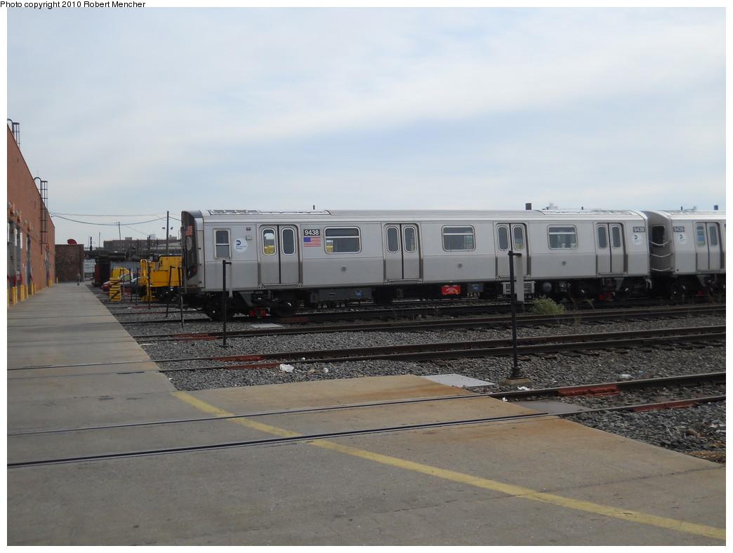 (221k, 1044x788)<br><b>Country:</b> United States<br><b>City:</b> New York<br><b>System:</b> New York City Transit<br><b>Location:</b> Coney Island Yard<br><b>Car:</b> R-160A (Option 1) (Alstom, 2008-2009, 5 car sets)  9438 <br><b>Photo by:</b> Robert Mencher<br><b>Date:</b> 10/20/2010<br><b>Viewed (this week/total):</b> 6 / 906