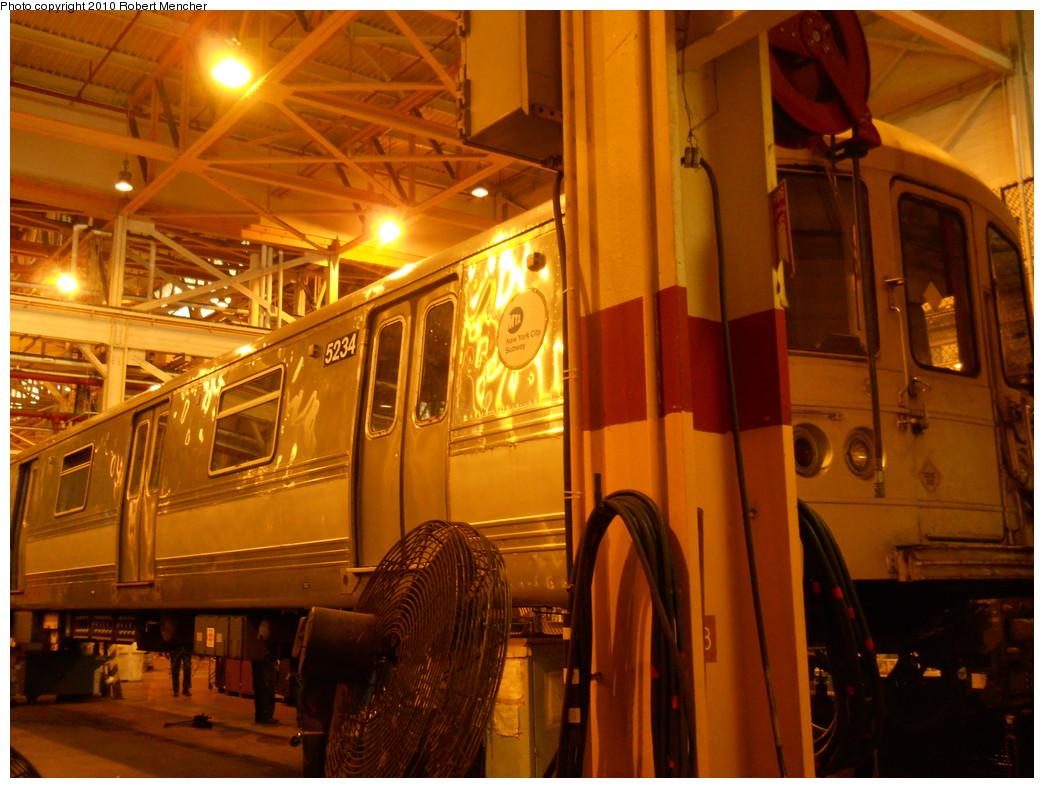 (289k, 1044x788)<br><b>Country:</b> United States<br><b>City:</b> New York<br><b>System:</b> New York City Transit<br><b>Location:</b> Coney Island Shop/Overhaul & Repair Shop<br><b>Car:</b> R-44 (St. Louis, 1971-73) 5234 <br><b>Photo by:</b> Robert Mencher<br><b>Date:</b> 10/20/2010<br><b>Viewed (this week/total):</b> 1 / 672