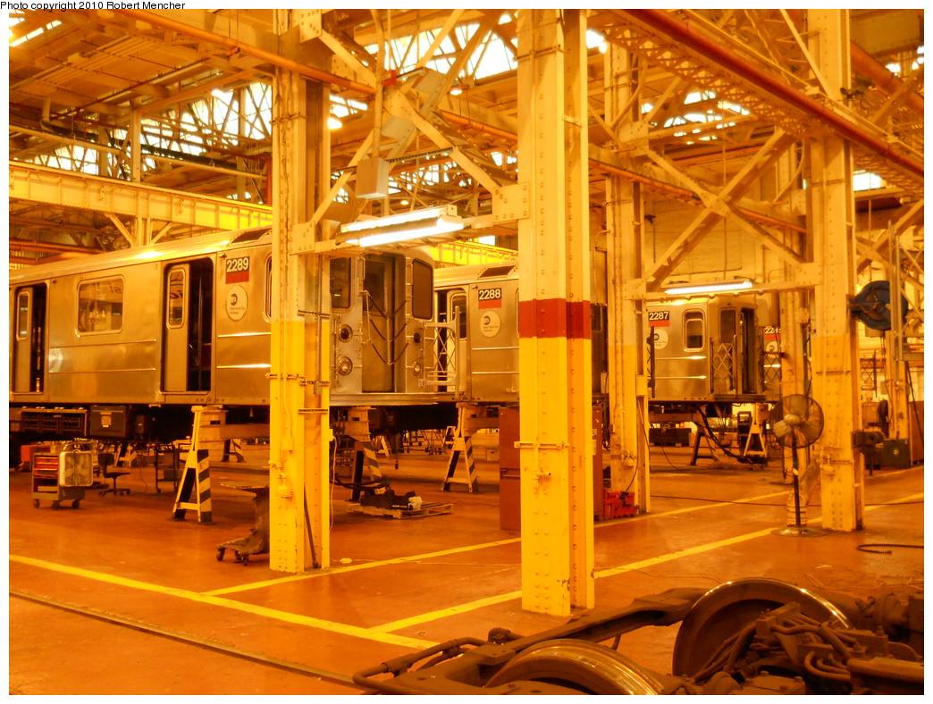 (349k, 1044x788)<br><b>Country:</b> United States<br><b>City:</b> New York<br><b>System:</b> New York City Transit<br><b>Location:</b> Coney Island Shop/Overhaul & Repair Shop<br><b>Car:</b> R-62A (Bombardier, 1984-1987)  2289/2288/2287 <br><b>Photo by:</b> Robert Mencher<br><b>Date:</b> 10/20/2010<br><b>Viewed (this week/total):</b> 0 / 612