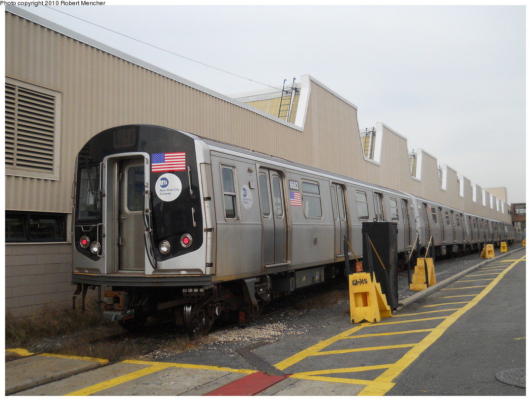 (243k, 1044x788)<br><b>Country:</b> United States<br><b>City:</b> New York<br><b>System:</b> New York City Transit<br><b>Location:</b> Coney Island Yard<br><b>Car:</b> R-160A-2 (Alstom, 2005-2008, 5 car sets)  8682 <br><b>Photo by:</b> Robert Mencher<br><b>Date:</b> 10/20/2010<br><b>Viewed (this week/total):</b> 0 / 861