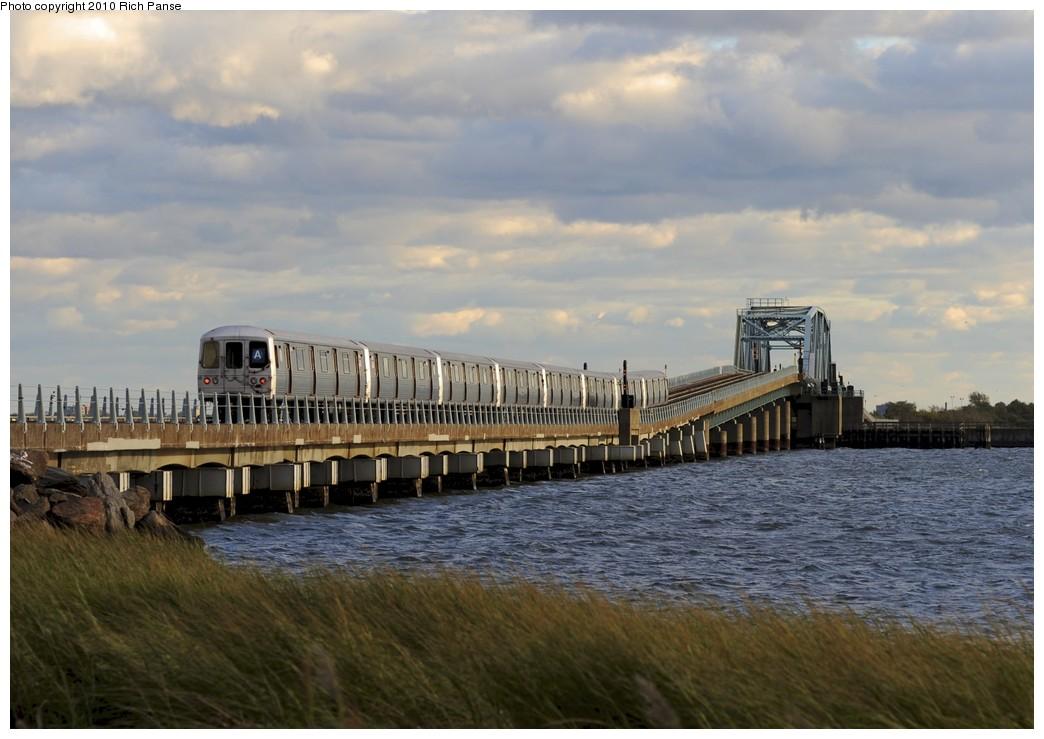 (165k, 1044x739)<br><b>Country:</b> United States<br><b>City:</b> New York<br><b>System:</b> New York City Transit<br><b>Line:</b> IND Rockaway<br><b>Location:</b> North Channel Bridge <br><b>Route:</b> A<br><b>Car:</b> R-46 (Pullman-Standard, 1974-75)  <br><b>Photo by:</b> Richard Panse<br><b>Date:</b> 10/15/2010<br><b>Viewed (this week/total):</b> 2 / 1221