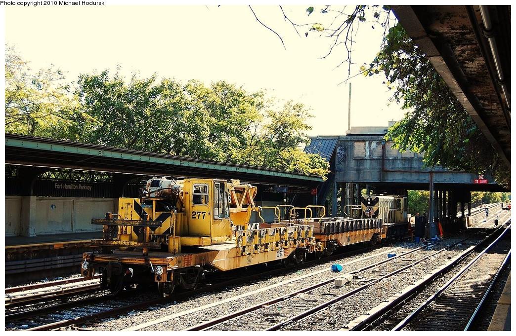 (357k, 1044x681)<br><b>Country:</b> United States<br><b>City:</b> New York<br><b>System:</b> New York City Transit<br><b>Line:</b> BMT Sea Beach Line<br><b>Location:</b> Fort Hamilton Parkway <br><b>Route:</b> Work Service<br><b>Car:</b> R-102 Crane Car  277 <br><b>Photo by:</b> Michael Hodurski<br><b>Date:</b> 10/16/2010<br><b>Viewed (this week/total):</b> 10 / 887