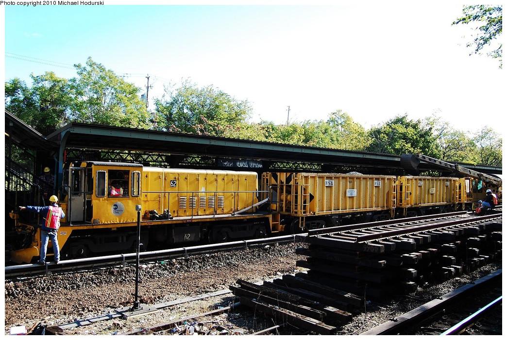 (310k, 1044x701)<br><b>Country:</b> United States<br><b>City:</b> New York<br><b>System:</b> New York City Transit<br><b>Line:</b> BMT Sea Beach Line<br><b>Location:</b> Fort Hamilton Parkway <br><b>Route:</b> Work Service<br><b>Car:</b> R-43 Locomotive  62 <br><b>Photo by:</b> Michael Hodurski<br><b>Date:</b> 10/16/2010<br><b>Viewed (this week/total):</b> 3 / 827