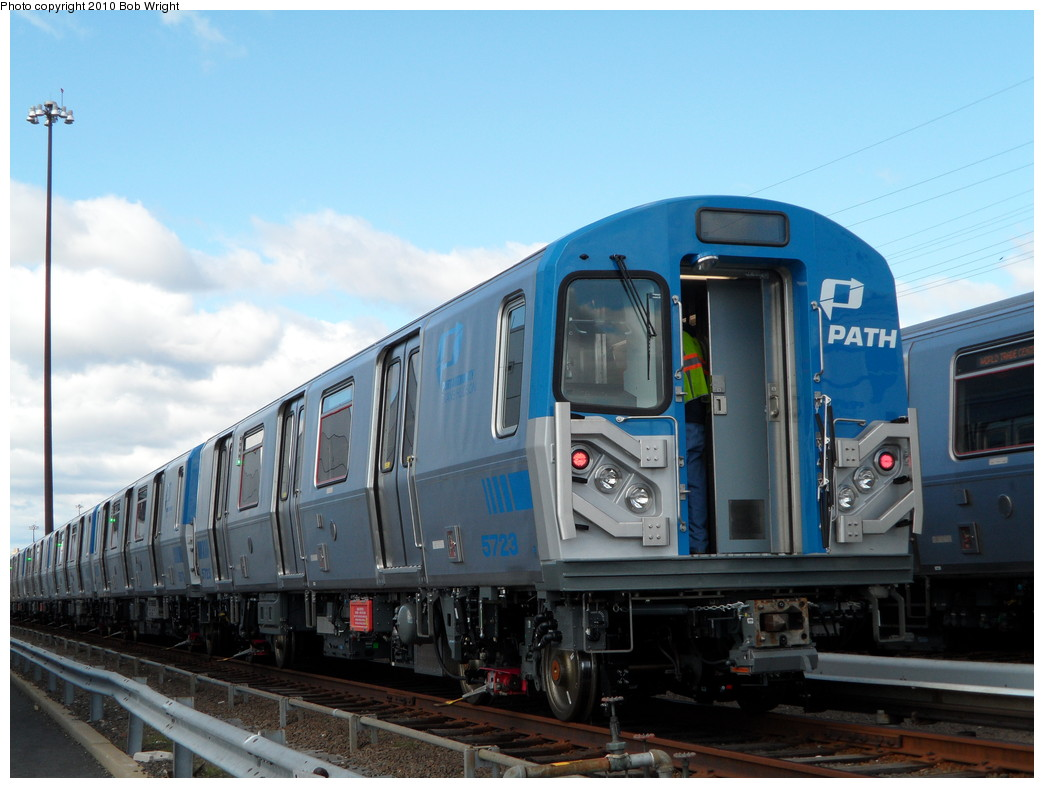 (202k, 1044x788)<br><b>Country:</b> United States<br><b>City:</b> Harrison, NJ<br><b>System:</b> PATH<br><b>Location:</b> Harrison Yard/Shop <br><b>Car:</b> PATH PA-5 (Kawasaki, 2009-2011) 5723 <br><b>Photo by:</b> Bob Wright<br><b>Date:</b> 10/16/2010<br><b>Viewed (this week/total):</b> 2 / 919