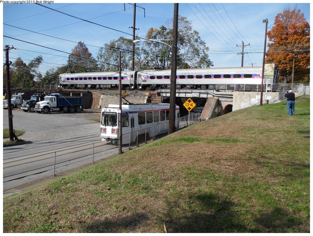 (373k, 1044x788)<br><b>Country:</b> United States<br><b>City:</b> Philadelphia, PA<br><b>System:</b> SEPTA (or Predecessor)<br><b>Line:</b> Rt. 102-Sharon Hill<br><b>Location:</b> Clifton-Aldan/Springfield Road <br><b>Car:</b> SEPTA K Double-ended (Kawasaki, 1981) 124 <br><b>Photo by:</b> Bob Wright<br><b>Date:</b> 10/24/2010<br><b>Viewed (this week/total):</b> 4 / 1503