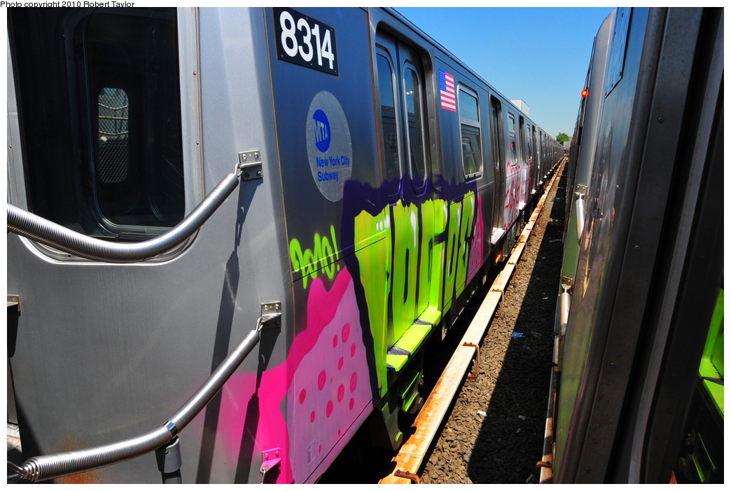 (252k, 1044x701)<br><b>Country:</b> United States<br><b>City:</b> New York<br><b>System:</b> New York City Transit<br><b>Location:</b> Rockaway Parkway (Canarsie) Yard<br><b>Car:</b> R-143 (Kawasaki, 2001-2002) 8314 <br><b>Photo by:</b> Robert Taylor<br><b>Date:</b> 5/20/2010<br><b>Viewed (this week/total):</b> 1 / 10115