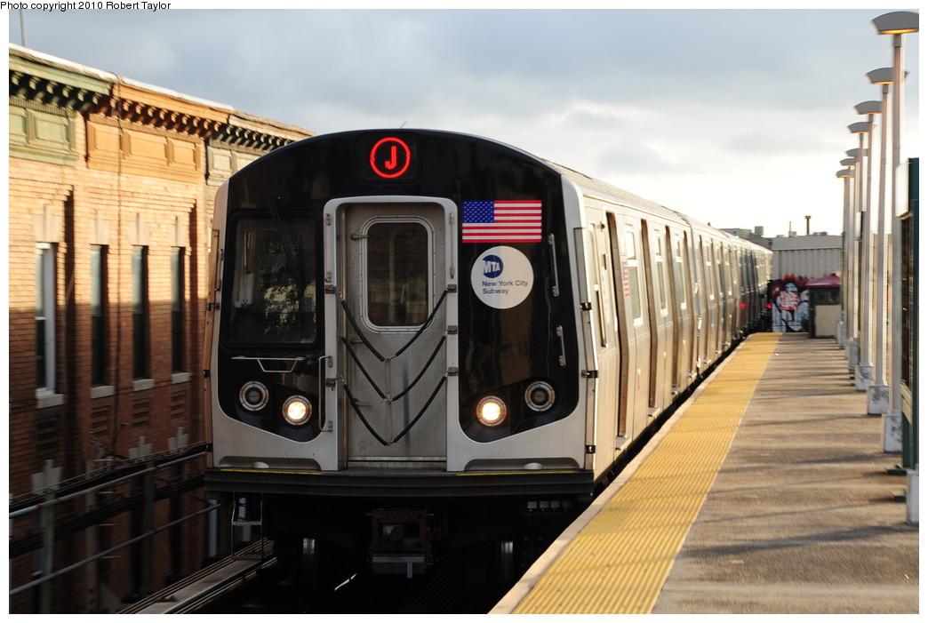 (236k, 1044x701)<br><b>Country:</b> United States<br><b>City:</b> New York<br><b>System:</b> New York City Transit<br><b>Line:</b> BMT Nassau Street/Jamaica Line<br><b>Location:</b> Norwood Avenue <br><b>Route:</b> J<br><b>Car:</b> R-160A-1 (Alstom, 2005-2008, 4 car sets)   <br><b>Photo by:</b> Robert Taylor<br><b>Date:</b> 8/2/2009<br><b>Viewed (this week/total):</b> 0 / 997