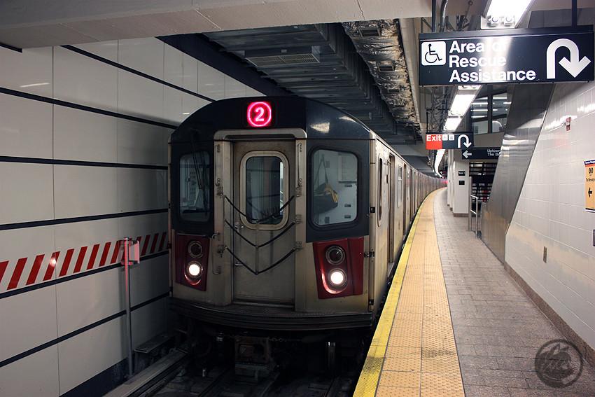 (191k, 850x567)<br><b>Country:</b> United States<br><b>City:</b> New York<br><b>System:</b> New York City Transit<br><b>Line:</b> IRT West Side Line<br><b>Location:</b> South Ferry (New Station) <br><b>Route:</b> 2<br><b>Car:</b> R-142 or R-142A (Number Unknown)  <br><b>Photo by:</b> Jon Lebowitz<br><b>Date:</b> 6/6/2010<br><b>Viewed (this week/total):</b> 2 / 1849