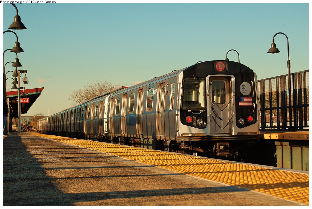 (257k, 1044x701)<br><b>Country:</b> United States<br><b>City:</b> New York<br><b>System:</b> New York City Transit<br><b>Line:</b> BMT Canarsie Line<br><b>Location:</b> Sutter Avenue <br><b>Route:</b> L<br><b>Car:</b> R-143 (Kawasaki, 2001-2002) 8137 <br><b>Photo by:</b> John Dooley<br><b>Date:</b> 10/28/2010<br><b>Viewed (this week/total):</b> 0 / 826