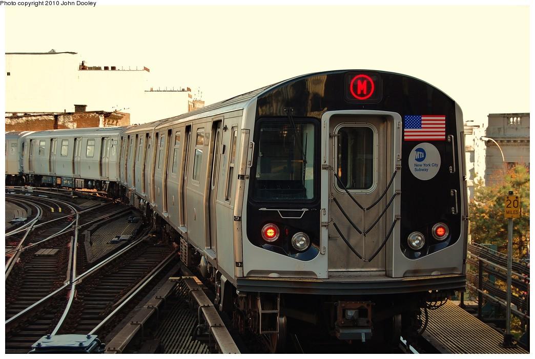 (228k, 1044x701)<br><b>Country:</b> United States<br><b>City:</b> New York<br><b>System:</b> New York City Transit<br><b>Line:</b> BMT Nassau Street/Jamaica Line<br><b>Location:</b> Myrtle Avenue <br><b>Route:</b> M<br><b>Car:</b> R-160A-1 (Alstom, 2005-2008, 4 car sets)  8628 <br><b>Photo by:</b> John Dooley<br><b>Date:</b> 10/28/2010<br><b>Viewed (this week/total):</b> 1 / 1319