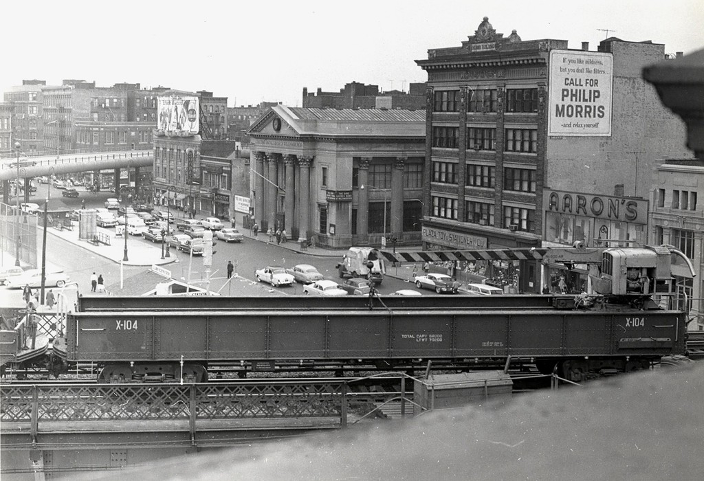 (213k, 1024x700)<br><b>Country:</b> United States<br><b>City:</b> New York<br><b>System:</b> New York City Transit<br><b>Line:</b> BMT Nassau Street/Jamaica Line<br><b>Location:</b> Marcy Avenue <br><b>Route:</b> Work Service<br><b>Car:</b> R-20 Traveling Crane Car (1957, Magor Car Corp)  X104 <br><b>Collection of:</b> George Conrad Collection<br><b>Date:</b> 4/18/1959<br><b>Viewed (this week/total):</b> 1 / 2940