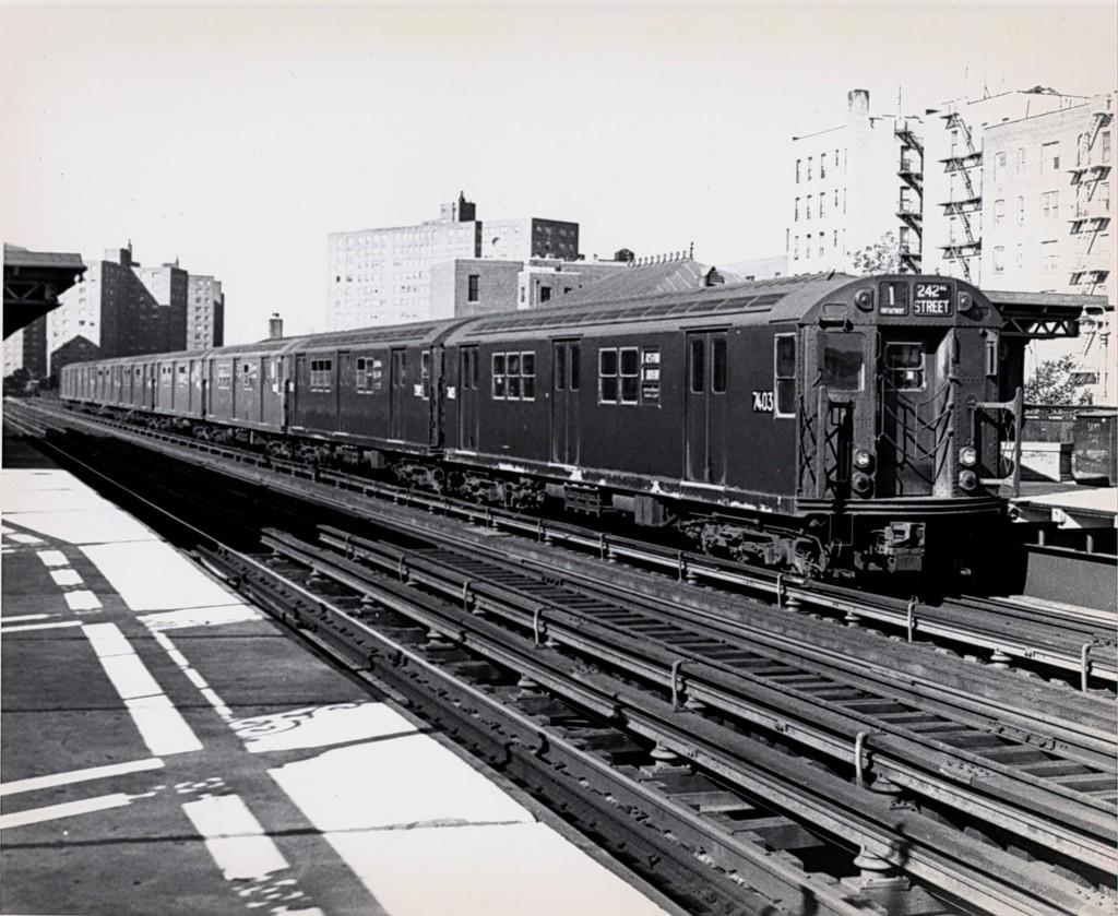 (208k, 1024x839)<br><b>Country:</b> United States<br><b>City:</b> New York<br><b>System:</b> New York City Transit<br><b>Line:</b> IRT West Side Line<br><b>Location:</b> 231st Street <br><b>Car:</b> R-22 (St. Louis, 1957-58) 7403 <br><b>Collection of:</b> George Conrad Collection<br><b>Date:</b> 5/29/1970<br><b>Viewed (this week/total):</b> 4 / 3221