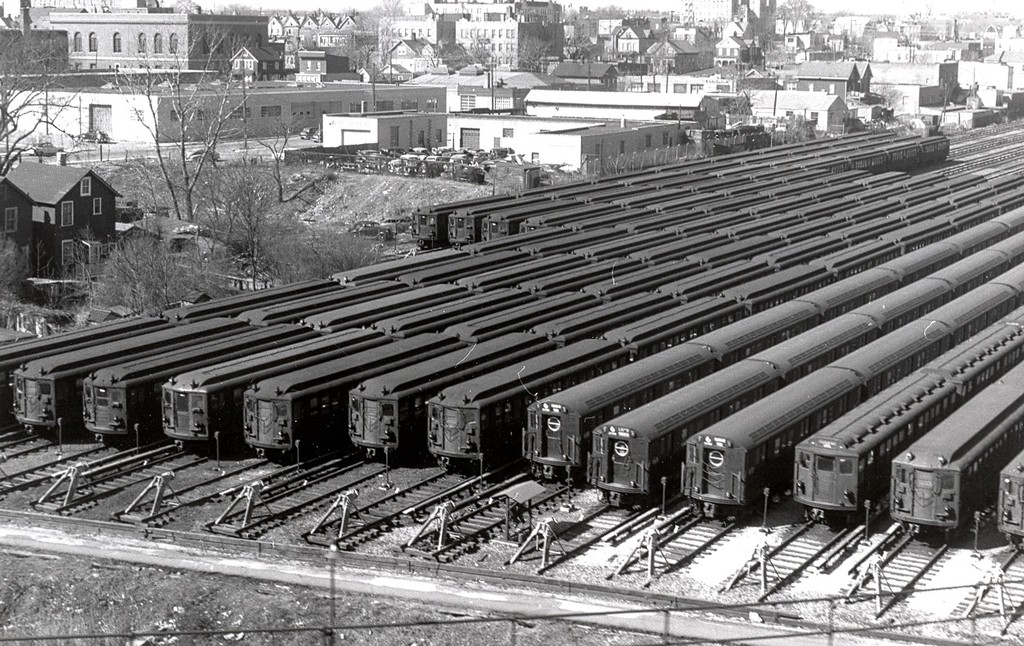 (264k, 1024x646)<br><b>Country:</b> United States<br><b>City:</b> New York<br><b>System:</b> New York City Transit<br><b>Location:</b> Westchester Yard<br><b>Collection of:</b> George Conrad Collection<br><b>Date:</b> 2/22/1956<br><b>Notes:</b> Gibbs Hi-V, WF Steinway, R-17 types, and regular Steinway types in Westchester yard.<br><b>Viewed (this week/total):</b> 0 / 1481