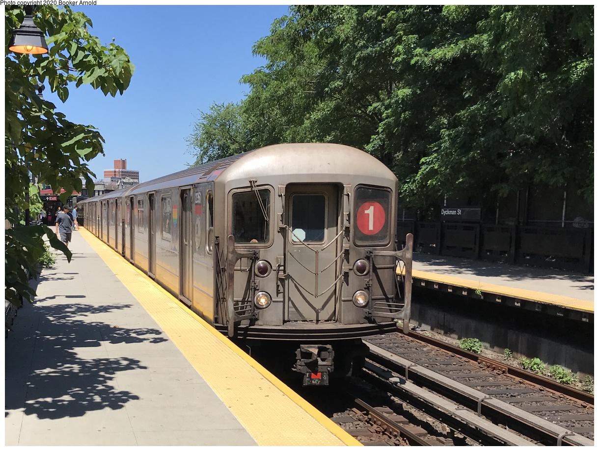 (469k, 1220x920)<br><b>Country:</b> United States<br><b>City:</b> New York<br><b>System:</b> New York City Transit<br><b>Line:</b> IRT West Side Line<br><b>Location:</b> Dyckman Street<br><b>Route:</b> 1<br><b>Car:</b> R-62A (Bombardier, 1984-1987) 2351 <br><b>Photo by:</b> Booker Arnold<br><b>Date:</b> 6/26/2019<br><b>Viewed (this week/total):</b> 9 / 31