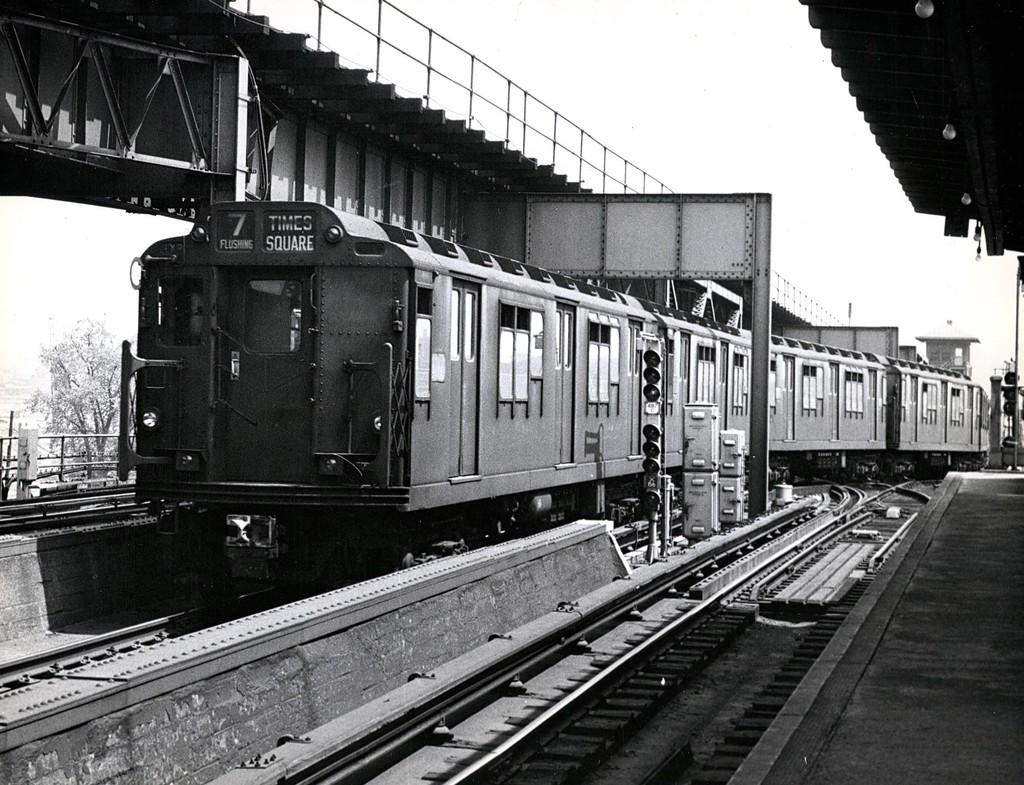 (239k, 1024x785)<br><b>Country:</b> United States<br><b>City:</b> New York<br><b>System:</b> New York City Transit<br><b>Line:</b> IRT Flushing Line<br><b>Location:</b> 111th Street <br><b>Route:</b> 7<br><b>Car:</b> R-12 (American Car & Foundry, 1948)  <br><b>Collection of:</b> George Conrad Collection<br><b>Viewed (this week/total):</b> 0 / 4338