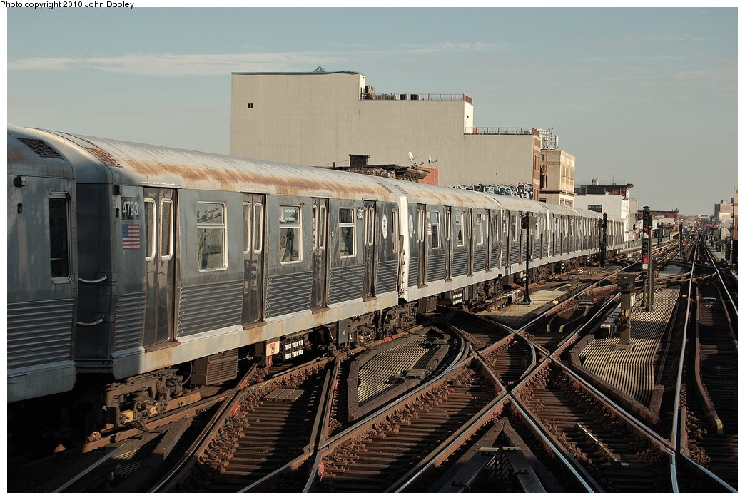 (262k, 1044x701)<br><b>Country:</b> United States<br><b>City:</b> New York<br><b>System:</b> New York City Transit<br><b>Line:</b> BMT Nassau Street/Jamaica Line<br><b>Location:</b> Myrtle Avenue <br><b>Route:</b> J<br><b>Car:</b> R-42 (St. Louis, 1969-1970)  4793 <br><b>Photo by:</b> John Dooley<br><b>Date:</b> 10/28/2010<br><b>Viewed (this week/total):</b> 2 / 1213