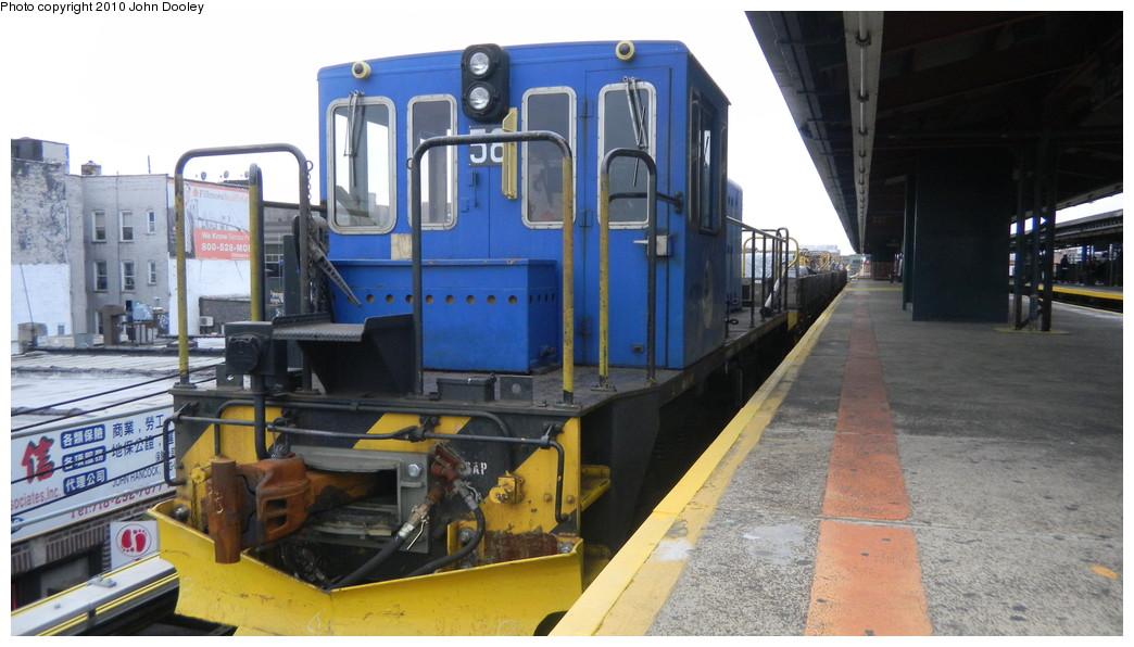 (228k, 1044x596)<br><b>Country:</b> United States<br><b>City:</b> New York<br><b>System:</b> New York City Transit<br><b>Line:</b> BMT West End Line<br><b>Location:</b> Bay Parkway <br><b>Route:</b> Work Service<br><b>Car:</b> R-41 Locomotive  58 <br><b>Photo by:</b> John Dooley<br><b>Date:</b> 10/31/2010<br><b>Viewed (this week/total):</b> 0 / 783