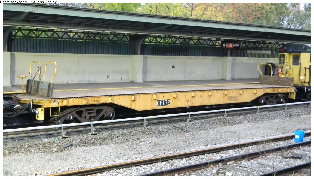 (264k, 1044x596)<br><b>Country:</b> United States<br><b>City:</b> New York<br><b>System:</b> New York City Transit<br><b>Line:</b> BMT Sea Beach Line<br><b>Location:</b> Fort Hamilton Parkway <br><b>Route:</b> Work Service<br><b>Car:</b> Flat Car 172 <br><b>Photo by:</b> John Dooley<br><b>Date:</b> 11/7/2010<br><b>Viewed (this week/total):</b> 1 / 960