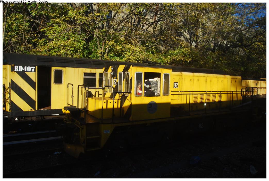 (314k, 1044x705)<br><b>Country:</b> United States<br><b>City:</b> New York<br><b>System:</b> New York City Transit<br><b>Line:</b> BMT Sea Beach Line<br><b>Location:</b> 8th Avenue <br><b>Route:</b> Work Service<br><b>Car:</b> R-52 Locomotive  82 <br><b>Photo by:</b> John Dooley<br><b>Date:</b> 11/6/2010<br><b>Viewed (this week/total):</b> 1 / 800