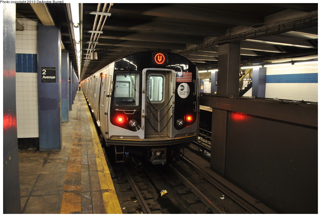 (240k, 1044x705)<br><b>Country:</b> United States<br><b>City:</b> New York<br><b>System:</b> New York City Transit<br><b>Line:</b> IND 6th Avenue Line<br><b>Location:</b> 2nd Avenue <br><b>Route:</b> V<br><b>Car:</b> R-160A (Option 1) (Alstom, 2008-2009, 5 car sets)  9342 <br><b>Photo by:</b> DeAndre Burrell<br><b>Date:</b> 5/24/2010<br><b>Viewed (this week/total):</b> 1 / 1422