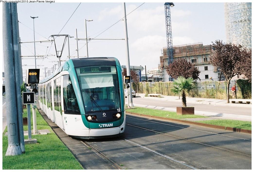 (209k, 1044x705)<br><b>Country:</b> Spain<br><b>City:</b> Barcelona<br><b>System:</b> Trambesòs<br><b>Location:</b> Glòries (T4) (T5) <br><b>Car:</b> Citadis Low-Floor Type 302 (Alstom)  12 <br><b>Photo by:</b> Jean-Pierre Vergez<br><b>Date:</b> 8/1/2010<br><b>Viewed (this week/total):</b> 1 / 433