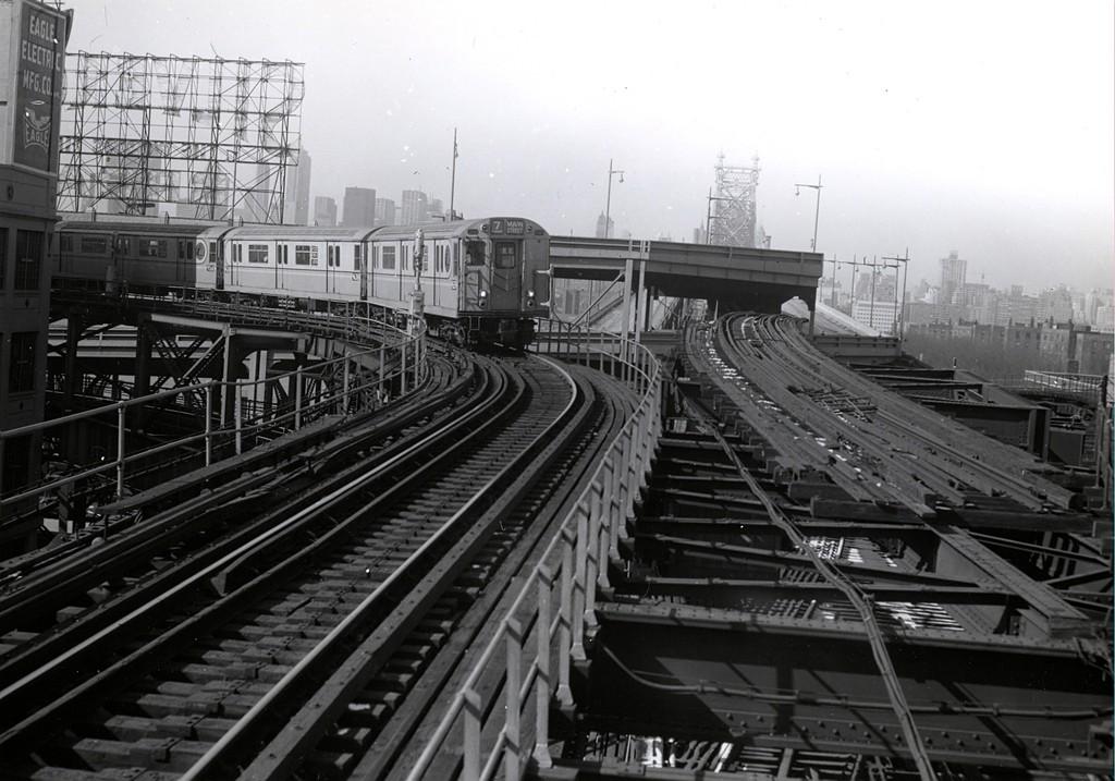 (185k, 1024x717)<br><b>Country:</b> United States<br><b>City:</b> New York<br><b>System:</b> New York City Transit<br><b>Line:</b> IRT Flushing Line<br><b>Location:</b> Queensborough Plaza <br><b>Route:</b> 7<br><b>Car:</b> R-36 World's Fair (St. Louis, 1963-64) 9632 <br><b>Collection of:</b> George Conrad Collection<br><b>Notes:</b> 9632 is 2nd car.<br><b>Viewed (this week/total):</b> 2 / 4348