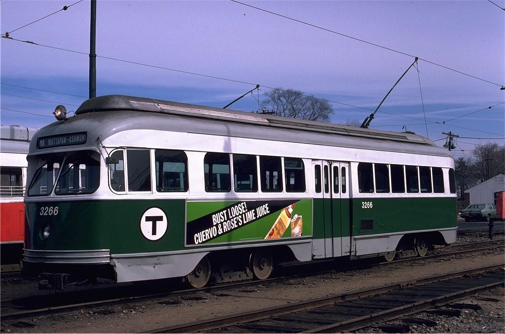(195k, 1024x678)<br><b>Country:</b> United States<br><b>City:</b> Boston, MA<br><b>System:</b> MBTA<br><b>Line:</b> MBTA Mattapan-Ashmont Line<br><b>Location:</b> Mattapan <br><b>Car:</b> MBTA/BSRy PCC Wartime (Pullman-Standard, 1945-46)  3266 <br><b>Photo by:</b> Gerald H. Landau<br><b>Collection of:</b> Joe Testagrose<br><b>Date:</b> 3/1/1980<br><b>Viewed (this week/total):</b> 2 / 752