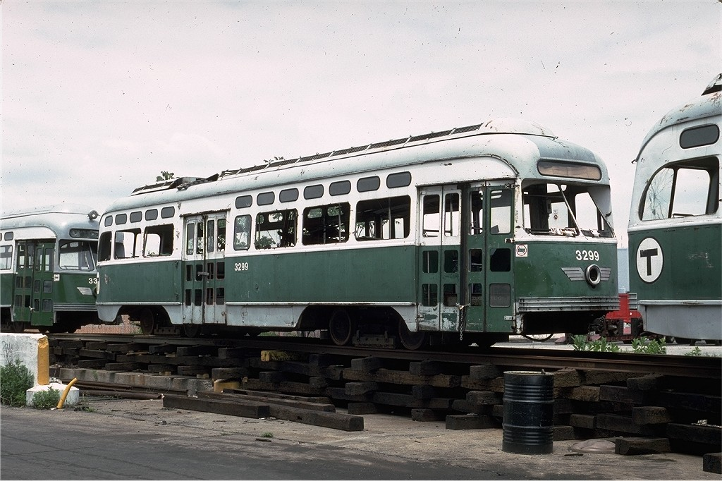 (202k, 1024x682)<br><b>Country:</b> United States<br><b>City:</b> New York<br><b>System:</b> New York City Transit<br><b>Line:</b> South Brooklyn Railway<br><b>Location:</b> SBK Yard (2nd Ave at 38th St.) (SBK)<br><b>Car:</b> MBTA/BSRy PCC Post-War Picture Window (Pullman-Standard, 1951)  3299 <br><b>Photo by:</b> Eric Oszustowicz<br><b>Collection of:</b> Joe Testagrose<br><b>Date:</b> 5/25/1992<br><b>Viewed (this week/total):</b> 0 / 1877